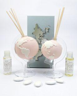 profumatore mappamondo porcellana rosa cipria tema viaggio