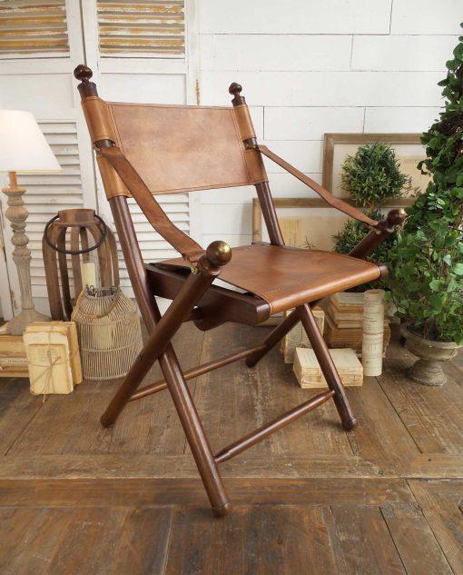 sedia pieghevole legno di teak e pelle