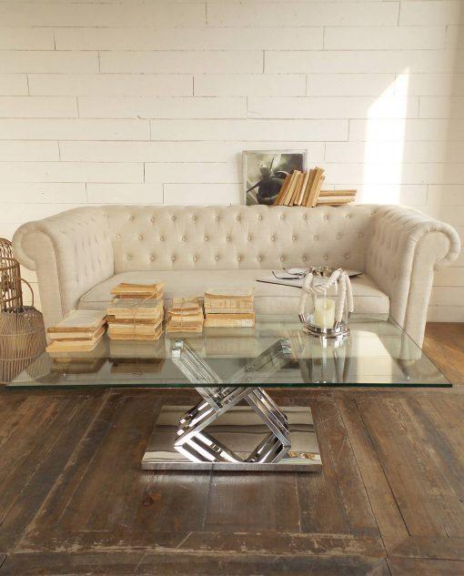 tavolino in vetro con base in acciaio moderno