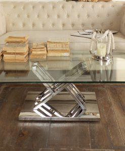 tavolino manhattan in vetro e acciaio