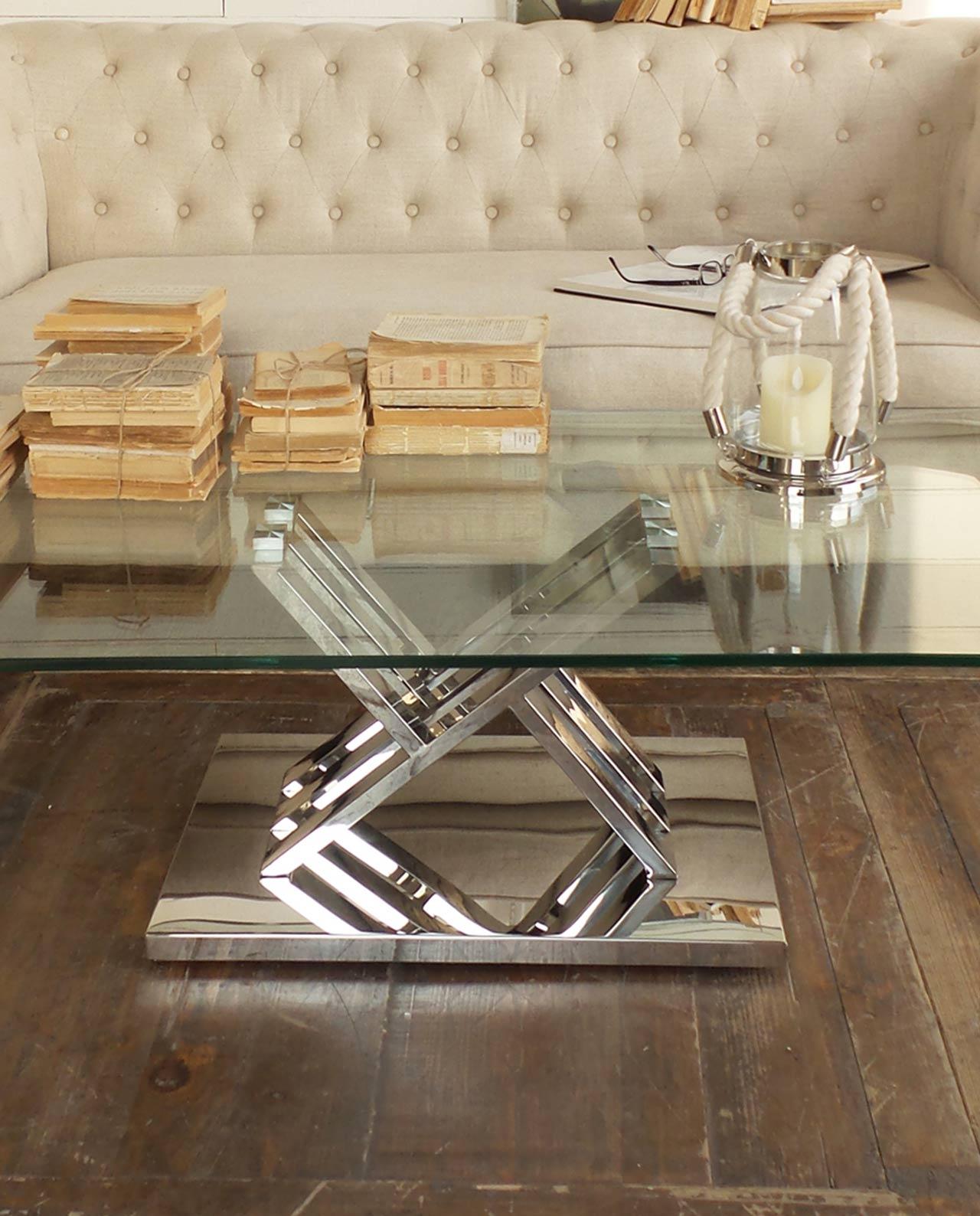 Tavolino soggiorno design vetro e acciaio mobilia store - Casa in acciaio e vetro ...