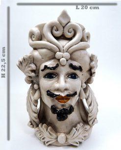 testa di moro grande re in ceramica antichizzata di caltagirone