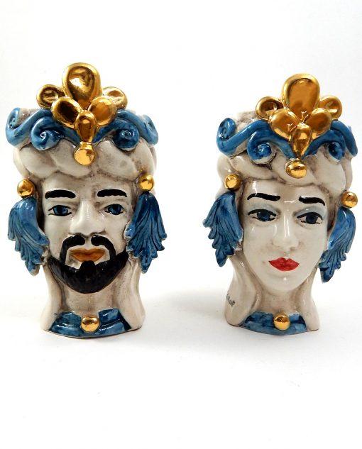 testa di moro in ceramica di caltagirone blu e oro