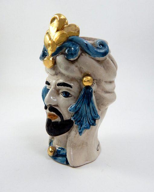 testa di moro in ceramica siciliana dipinta a mano blu e oro 1