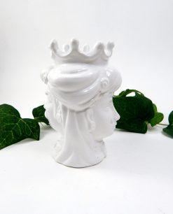 testa di moro insieme per sempre in ceramica di caltagirone bianca 1