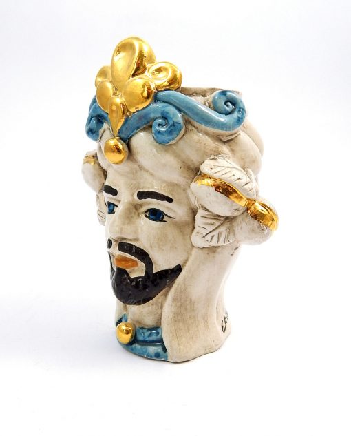 testa di moro re in ceramica di caltagirone dipinta a mano