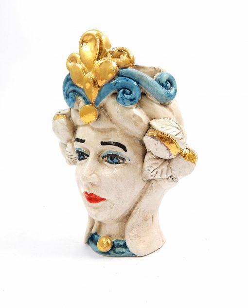 testa di moro regina in ceramica di caltagirone dipinta a mano
