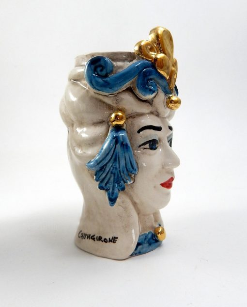 testa di moro regina in ceramica dipinta a mano blu e oro di caltagirone 1