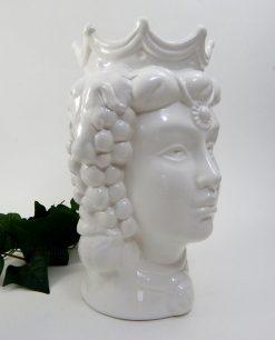 testa regina in ceramica di caltagirone bianca