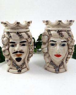 teste di moro bianco fumè con corona ceramica siciliana
