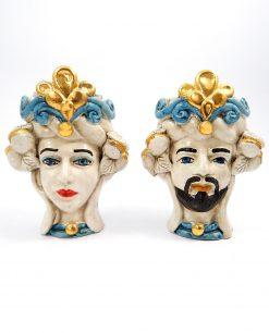 teste di moro in ceramica artigianale di caltagirone blu e oro
