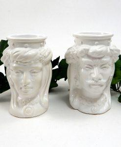 teste di moro in ceramica bianca di caltagirone
