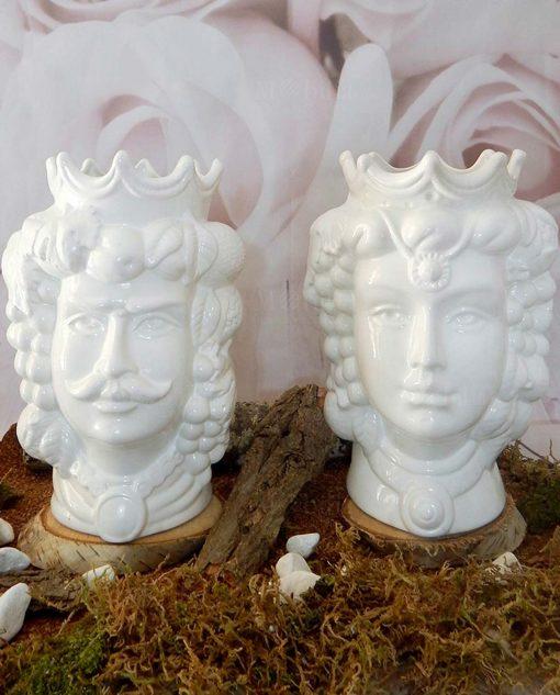 teste di moro in ceramica di caltagirone bianca con frutta
