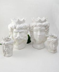 teste di moro in ceramica di caltagirone bianche con corona
