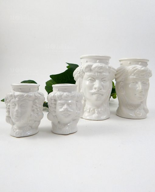 teste di moro in ceramica di caltagirone bianche senza corona