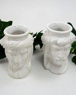 teste di moro re e regina artigianali in ceramica bianca di caltagirone