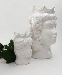 teste di moro regina in ceramica di caltagirone bianca