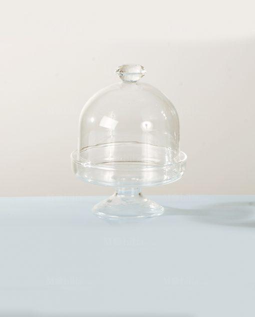 alzatina vetro con pomello diamante