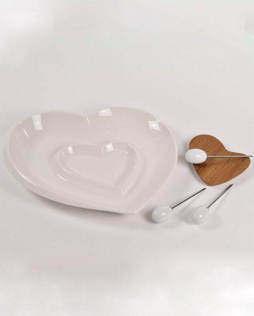 antipastiera a cuore in ceramica bianca