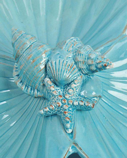 antipastiera con conchiglie azzurra
