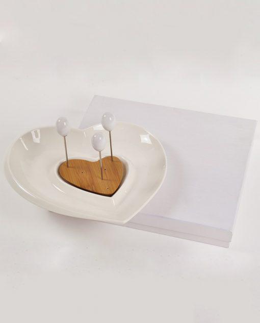 antipastiera in ceramica con spiedini e scatola