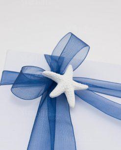 applicazione gessetto stella marina su fiocco organza blu