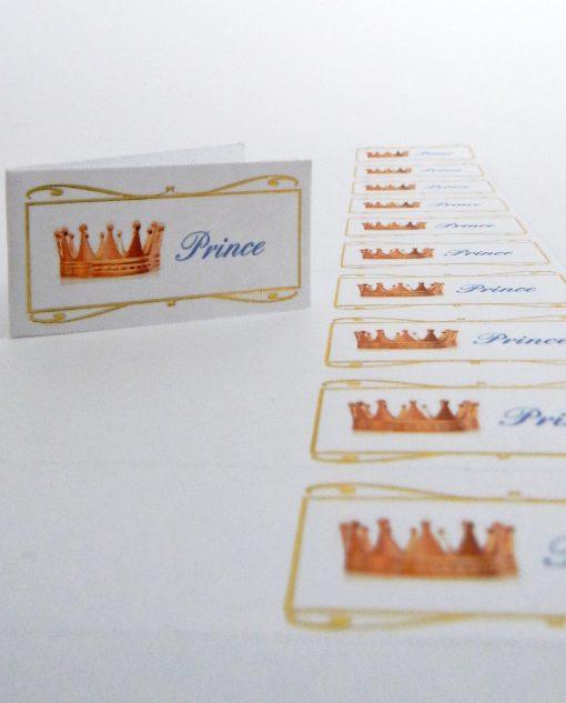 bigliettini con coroncina prince stampati o da stampare