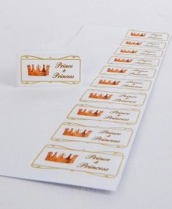 bigliettini nascita gemelli con corona prince e princess