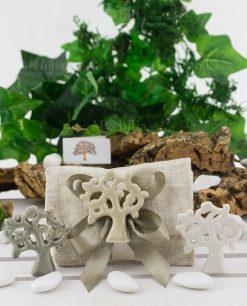 bomboniera albero della vita porcellana su bustina portaconfetti