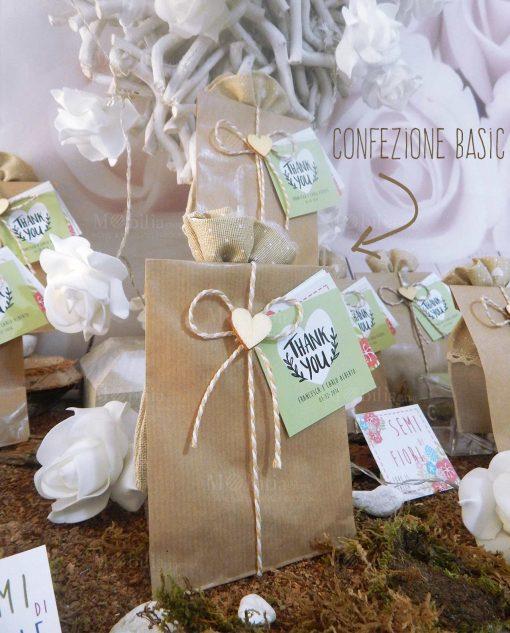 bomboniera bustina cartoncino con semi misti da piantare sacchetto e bigliettini