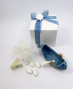 bomboniera canoa ceramica bianco blu 1