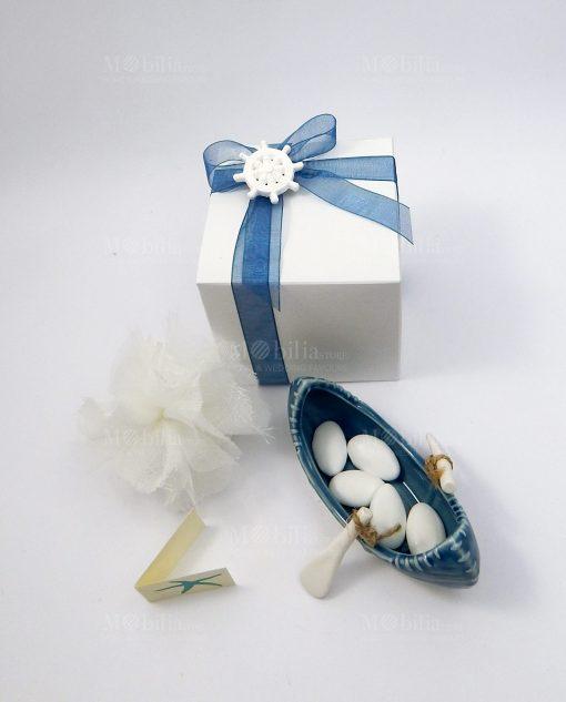 bomboniera canoa ceramica bianco blu