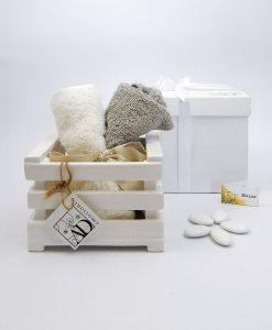 bomboniera cassetta in ceramica bianca con lavette ad emozioni