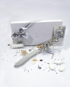 bomboniera coltello torta corallo argentato tema mare emò