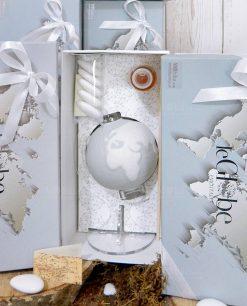bomboniera diffusore mappamondo grigio con confetti fragranza e nastro