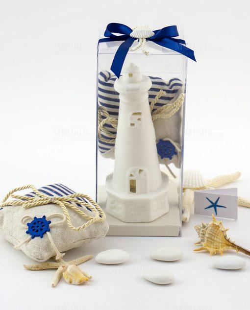 bomboniera grande lampada led faro con sacchettino juta portaconfetti con cordoncino e nastro blu con conchiglia ad emozioni