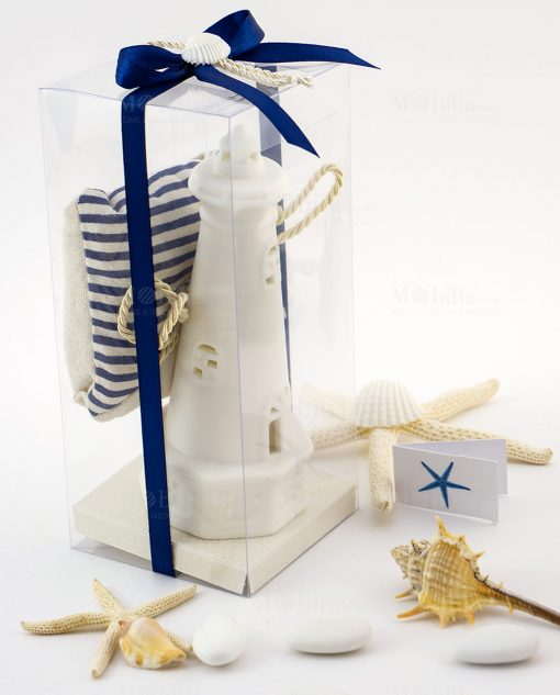 bomboniera lampada led faro bianco ad emozioni con sacchetto portaconfetti juta cordoncino e nastro blu