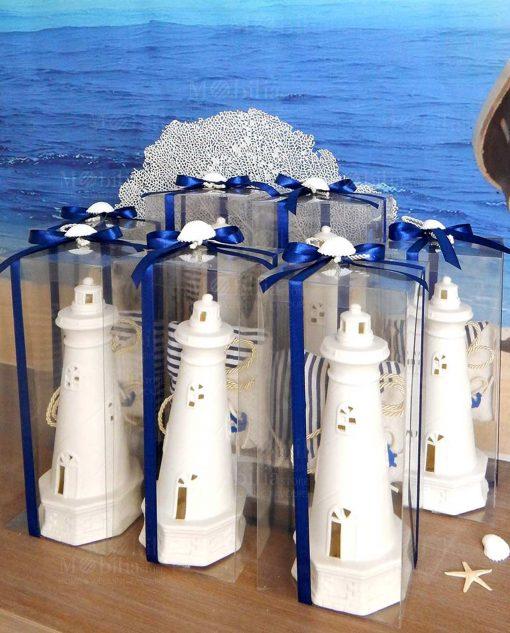 bomboniera lampada led faro bianco con fiocco blu e conchiglia