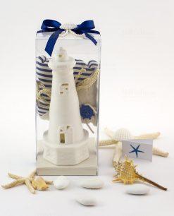 bomboniera lampada led faro bianco con sacchetto juta cordoncino aaplicazione timone nastro blu e conchiglia ad emozioni