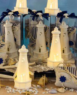 bomboniera lampada led faro bianco con sacchetto portaconfetti juta ad emozioni