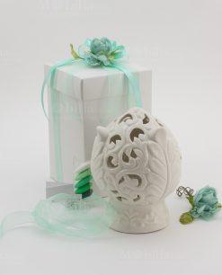bomboniera lampada led porcellana bianca pomo linea pomona ad emozioni con scatola
