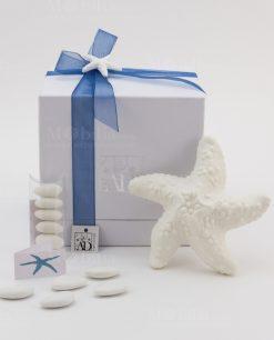 bomboniera lampada led stella marina ceramica bianca con applicazione gessetto stella marina linea portofino ad emozioni