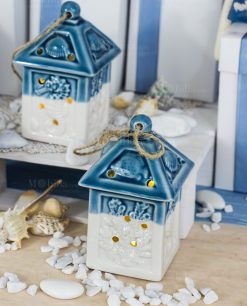 bomboniera lanterna porcellana bianca e blu con soggetti tema mare assortiti