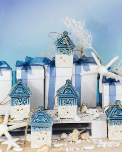 bomboniera lanterna porcellana bianca e blu tema mare