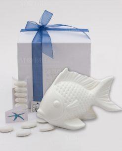 bomboniera pesce grande a led con scatola e nastrino blu linea portofino ad emozioni