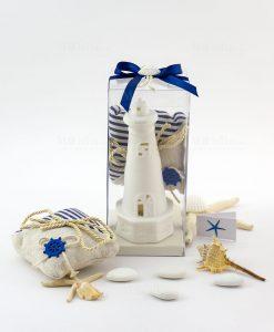 bomboniera piccola lampada led faro con sacchettino juta portaconfetti con cordoncino e nastro blu con conchiglia ad emozioni