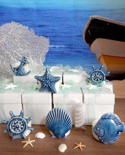 bomboniera portacandela bianco con soggetto tema mare blu linea summer ad emozioni