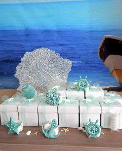 bomboniera portacandela bianco con soggetto tema mare tiffany linea summer ad emozioni