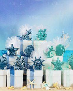 bomboniera portacandela soggetti marini assortiti blu e tiffany linea summer ad emozioni
