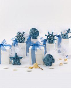 bomboniera portacandela tema mare soggetti assortiti linea summer blu ad emozioni